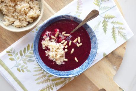 Crema de remolacha y arroz integral prebiótico